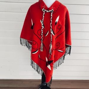 Vintage Red Wool Embroidered Poncho Cape